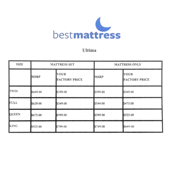 best mattress ultima price sheet
