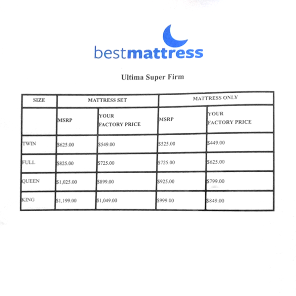 best mattress super firm ultima price sheet